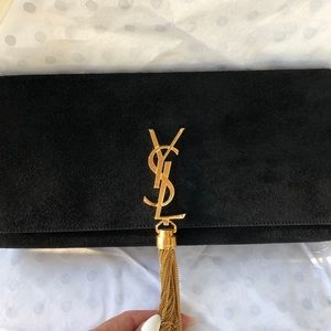 Saint Laurent black velvet clutch